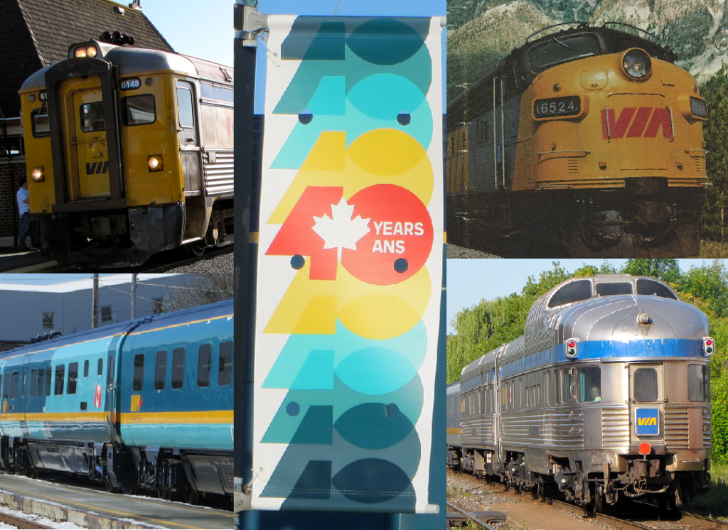 Several images of VIA Rail trains, along with a colourful banner marking 40 years of VIA Rail