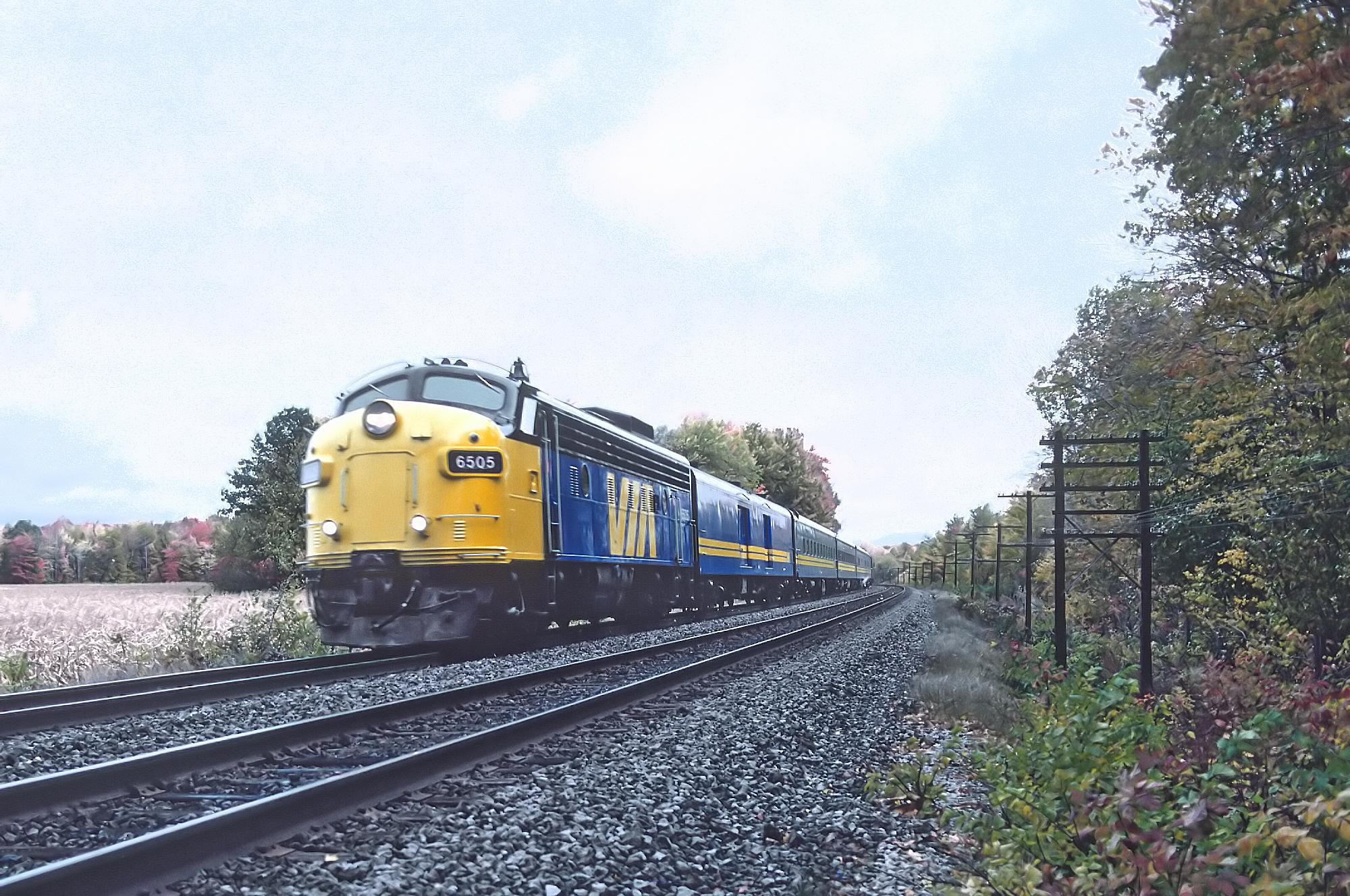 VIA 6505, Train 1 at Coteau du Lak, Que on October 8, 1987